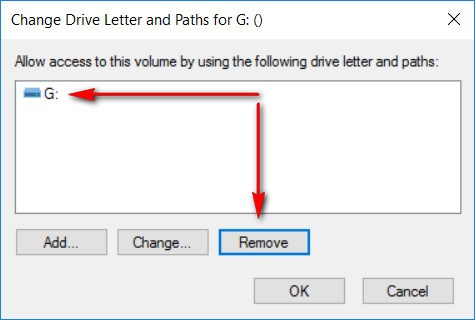 Disk Management: Remove Drive Letter