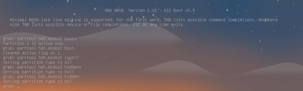 Grub2 parttool command