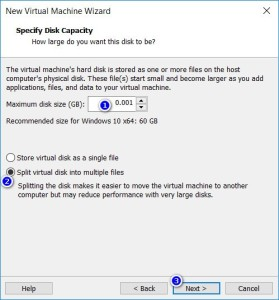 VMware Workstation - Specify Disk Capacity