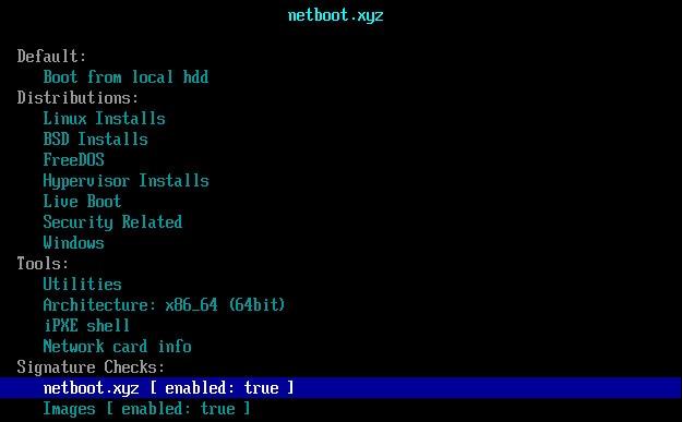Khởi động netboot.xyz từ Grub2, Grub4dos và Syslinux