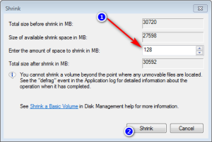 Disk Utility 128MB unallocated